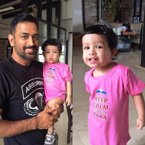 MS Dhoni With Daughter At Home
