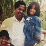 Meghana Lokesh with her father and brother (Childhood Picture)