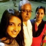 Meghana Lokesh with her grandfather and mother