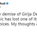 Narendra Modi Tweet On Girija Devi Demise