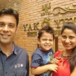 Nidhi Mathur with her husband and son