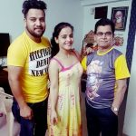 Nisha Pareek with her brother Chetan Pareek and father