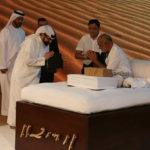 Prince of Abu Dhabi in UAE, thanking Morari Bapu for Coming in the Country