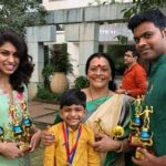 Priyanka Karunakaran with her mother, nephew and brother