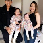 Roberto Firmino with his wife and daughters