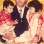 Shrishti Ganguly Rindani with her father and sister- Childhood Picture