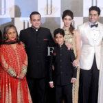 From Left Amitabh Bachchan, Jaya Bachchan (wife of Amitabh Bachchan) Nikhil Nanda with his son, Shweta Bachchan (wife of Nikhil Nanda), Abhishek Bachchan (son of Amitabh Bachchan), Aishwarya Rai Bachchan (wife of Abhishek Bachchan)