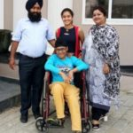 Tanishq Kaur with her parents and brother