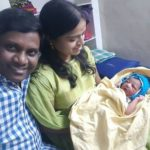 Thagubothu Ramesh with his wife and kid