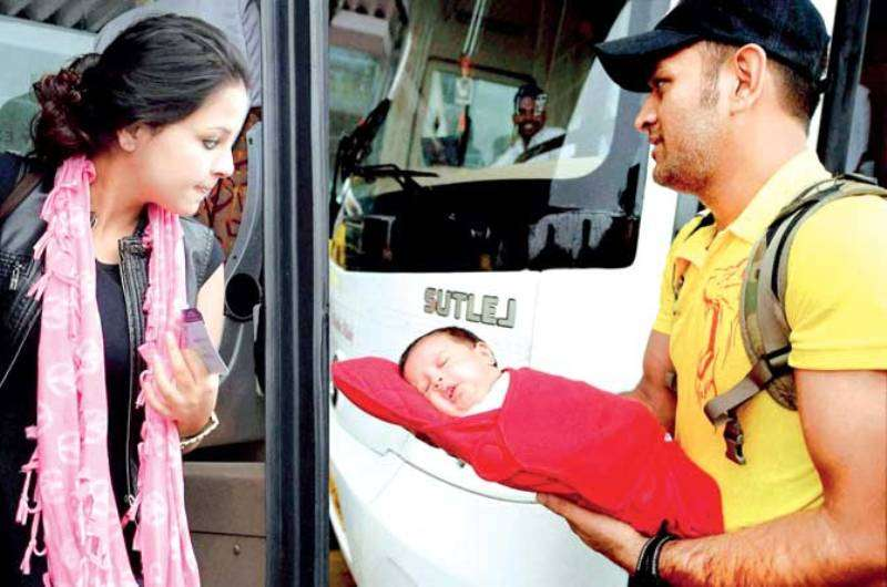 Two Months Old Ziva Dhoni With Her Father And Mother