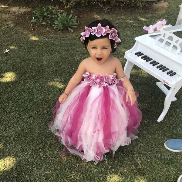 Ziva Dhoni In Pink Frock