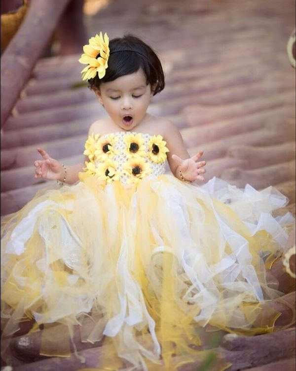 Ziva Dhoni Looking Adorable In Yellow Frock