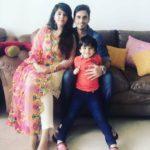 Waseem Mushtaq with his wife Ayesha and son Rayan